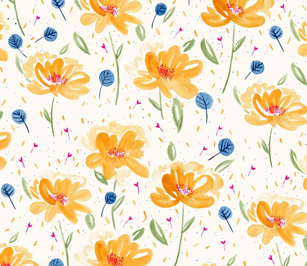 florales Aquarell-Muster mit orangenen Pfingstrosen